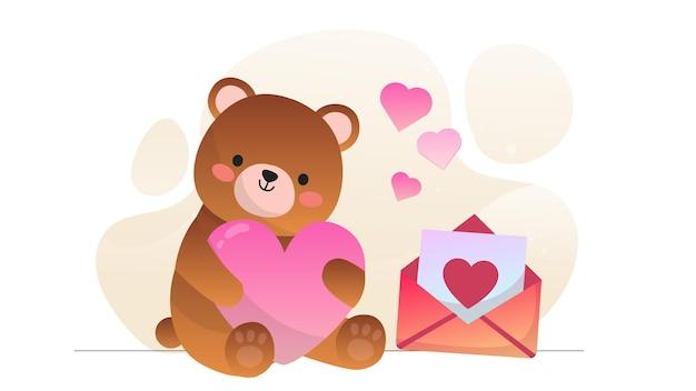 Valentine teddy bear liebesbrief illustration hintergrund