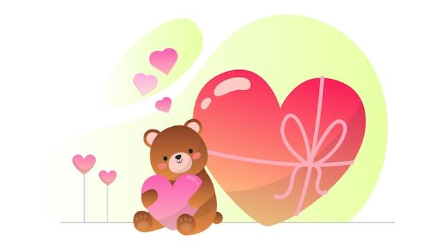 Valentine teddy bear love present illustration hintergrund
