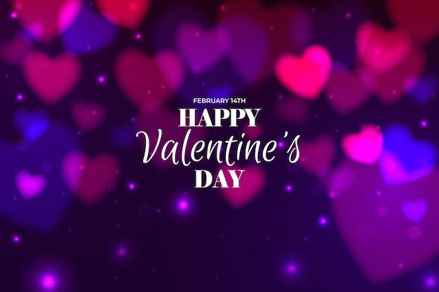 Valentine verschwommen hintergrund mit defokussierten herzen