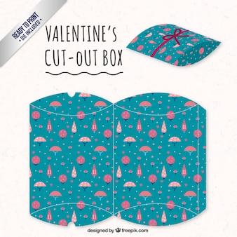 Valentines day-box mit rosa bäumen