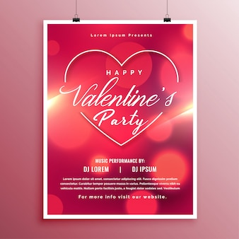 Valentines day party event flyer schablonendesign
