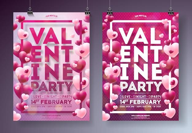 Valentines day party flyer illustration mit roten herzen und typografie design