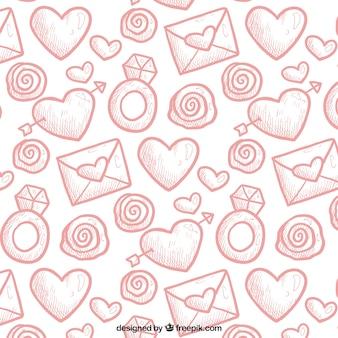 Valentines muster in handgezeichneten stil