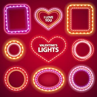 Valentines neon lights frames mit einem copy space set2