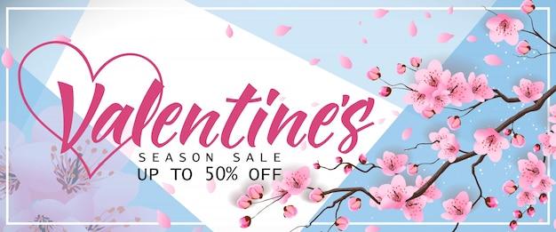 Valentines saison sale banner mit sakura