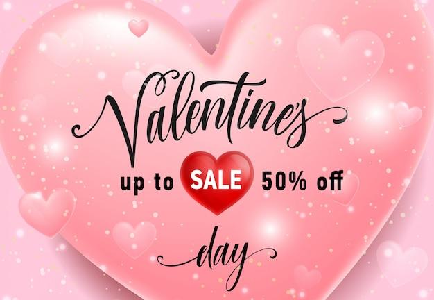 Valentines sale schriftzug auf rosa herz