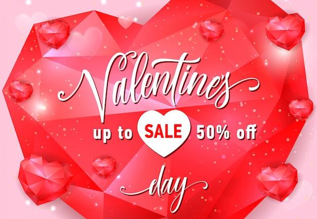 Valentines sale schriftzug auf rotes herz
