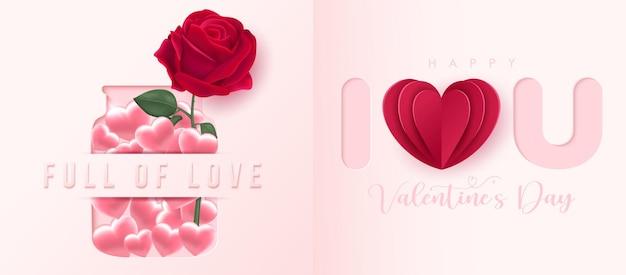 Valentinevalentines tagesbanner im papierstil