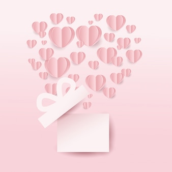 Valentins geschenkbox und fliegende herzen, herzform auf rosa hintergrund. papierschnittstil. vektor-illustration