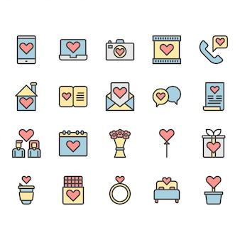Valentinsgrüße und liebesikonen- und -symbolsatz