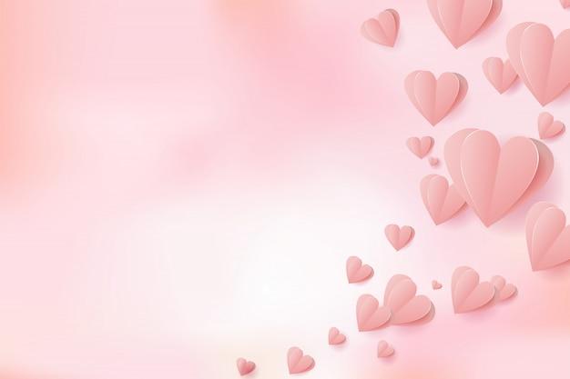 Valentinsgruß-papierschnittherzen, die elemente auf rosa maschenhintergrund für grußkarte fliegen