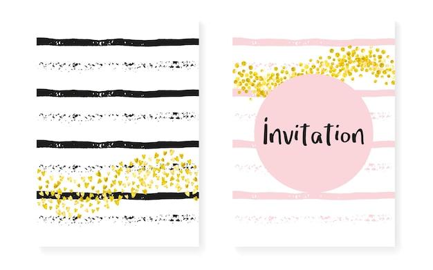 Valentinsgruß. rosa feiertags-flyer. weiße glitzernde tapete. rose einladen. streifen retro-textil. goldene festliche farbe. scrapbook-partikel-set. streifen-valentinsgruß-schimmer