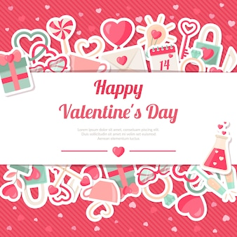 Valentinsgruß-tagesfahne mit flachen ikonen-aufklebern auf rosa hintergrund