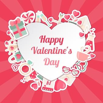 Valentinsgruß-tagesfahne mit flachen ikonen und herz gestalten rahmen