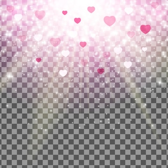 Valentinsgruß-tagesliebe und gefühls-herz bokeh glänzender hintergrund mit transparentem effekt.