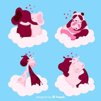 Valentinsgrußanima-paare auf wolkensammlung