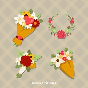 Valentinsgrußblumenkranz und blumenstraußsatz