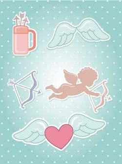 Valentinsgrußelemente über blauer hintergrundvektorillustration