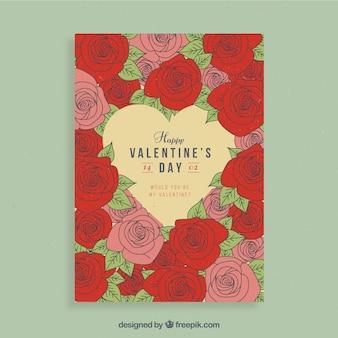 Valentinsgrußfliegerdesign mit den roten und rosa blumen