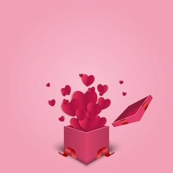 Valentinsgrußherzen mit geschenkboxpostkarte.