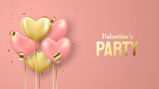 Valentinsgrußhintergrund mit gold- und rosa ballonillustrationen auf einem rosa hintergrund.