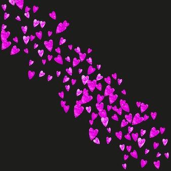 Valentinsgrußhintergrund mit rosa funkelnherzen. 14. februar tag. vektorkonfetti für valentinsgrußhintergrundschablone. grunge handgezeichnete textur.