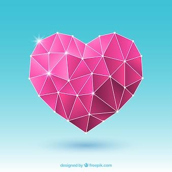Valentinsgrußhintergrund mit rosa polygonalem herzen