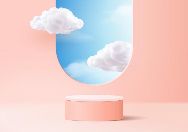 Valentinsgrußhintergrundvektor 3d-rosa-rendering mit podium und wolkenweißszene, wolke 3d-minimaler hintergrund 3d-rendering valentinsgruß-liebesrosa-pastellpodium. bühnenrosa auf cloud-render-hintergrund