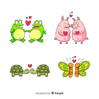 Valentinsgrußkarikatur-tierpaarsammlung