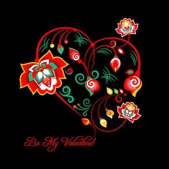 Valentinsgrußkarte mit blumen in der slawischen blumenart