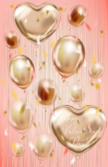 Valentinsgrußkarte mit folienballonen auf dem korallenroten hintergrund