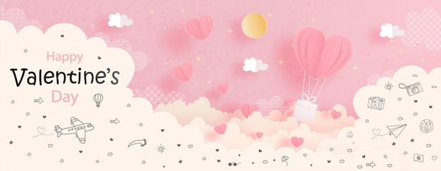 Valentinsgrußkarte mit herzballon