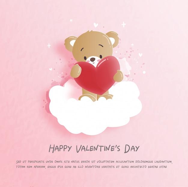 Valentinsgrußkarte mit nettem teddybären in der papierschnitt-artillustration. Premium Vektoren