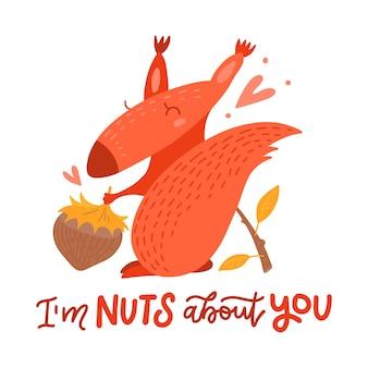Valentinsgrußkarte mit niedlichem eichhörnchen, das eine nuss und einen ast im flachen karikaturstil hält. ich bin nüsse über dich - handgezeichnete valentinskarte.