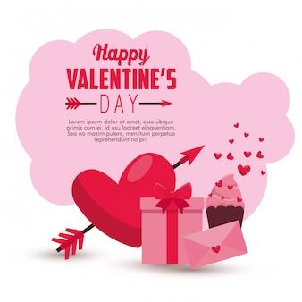 Valentinsgrußkartenmitteilung und -herz mit pfeil