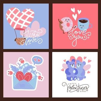 Valentinsgrußkartensatz. quadratische hand gezeichnete schöne szenenbanner.