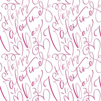 Valentinsgrußmuster mit nettem glücklichem kalligraphischem text des valentinsgrußes tages