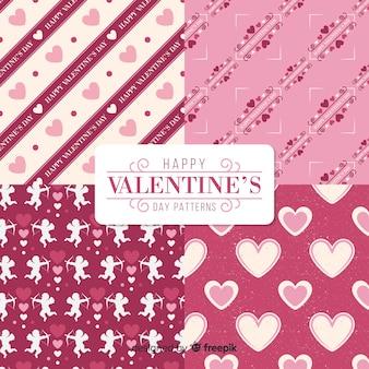 Valentinsgrußmuster-sammlungsengel und -herzen