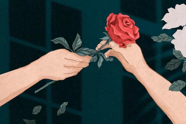 Valentinsgrußpaar, das gezeichnete illustration der rose hand austauscht