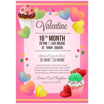 Valentinsgrußparteiplakatschablone mit bunten kuchen