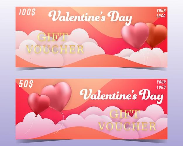 Valentinsgrußtagesgutscheinhintergrundfahnen eingestellt