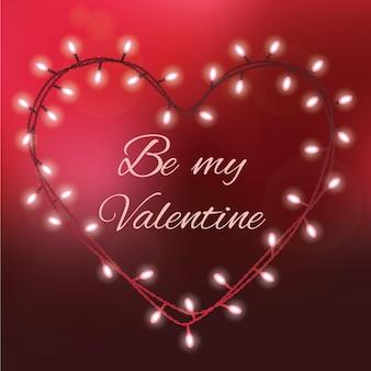 Valentinsgrußtageshintergrund mit hellen lichtern und text ist mein valentinsgruß