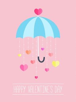 Valentinsgrußtageshintergrunddekor durch regenschirm mit papierherzen, die unten hängen.