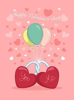 Valentinsgrußtageshintergrunddekor mit rotem herzen formte schlüssel und ballone.