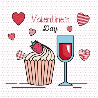 Valentinsgrußtageskarte mit herzen und schalenwein