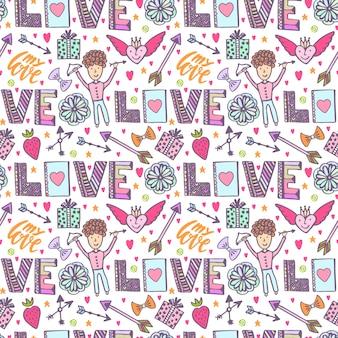 Valentinsgrußtagesromantischer hintergrund. vector kreatives muster mit amorengel, pfeilen und liebeswörtern. kreativer nahtloser druck.