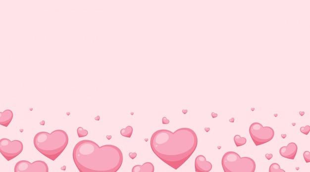 Valentinsgrußthema mit rosa herzen auf rosa hintergrund