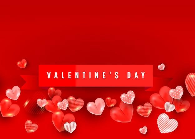 Valentinsgrußverkaufs-fahnenschablone mit ballonelementen des herzens 3d. illustration für website, plakate, gutscheine, werbematerial.