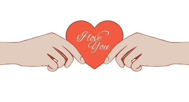 Valentinskarte in weiblichen händen.