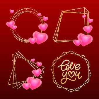 Valentinskarte liebe dich mit kalligraphischer beschriftung
